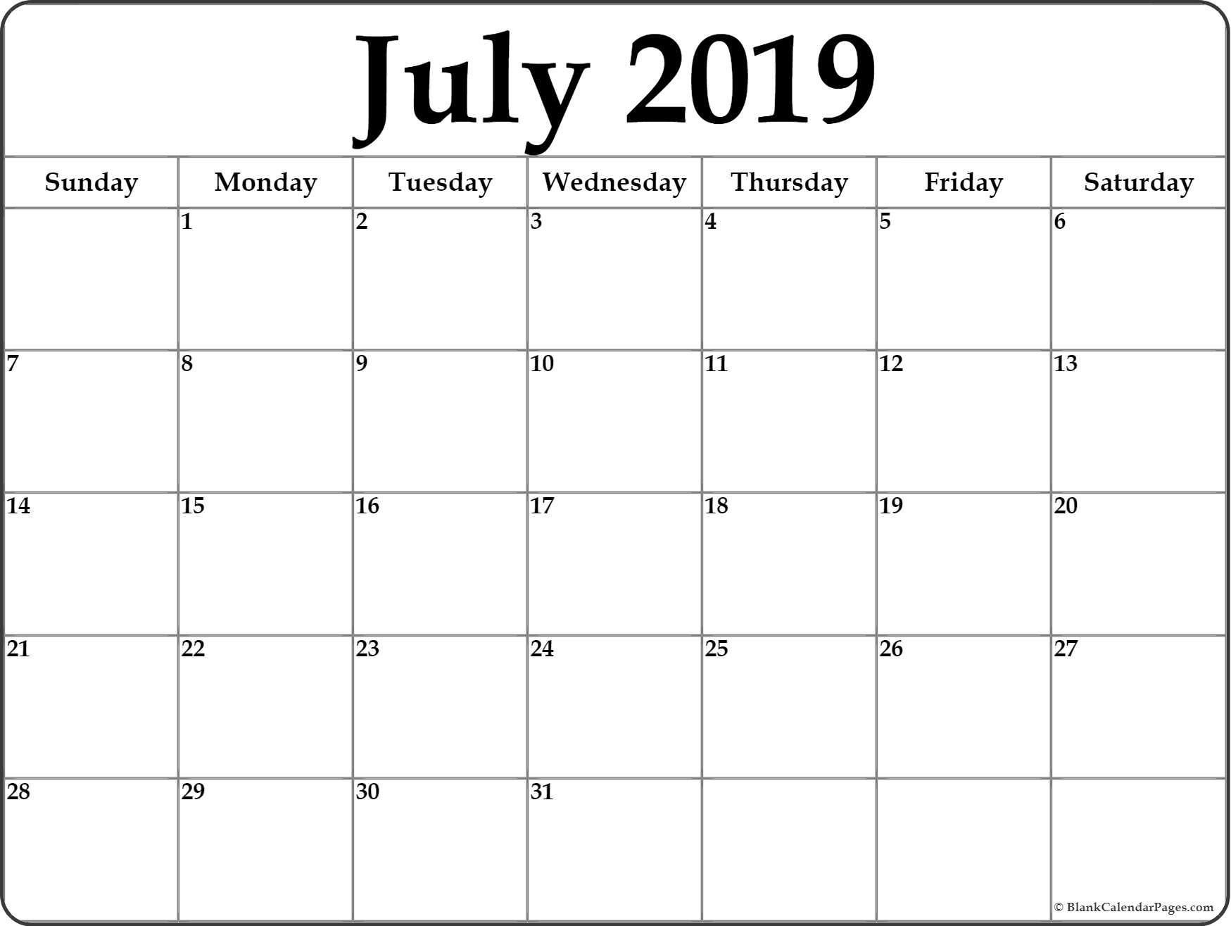 July 2019 Blank Calendar Templates Printable Calendars July
