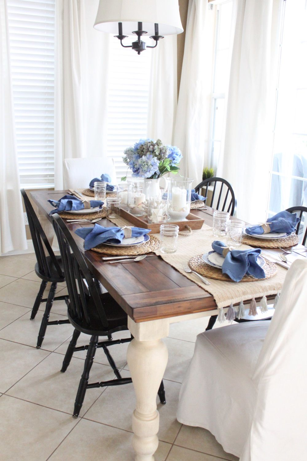 Blue And White Kitchen Table