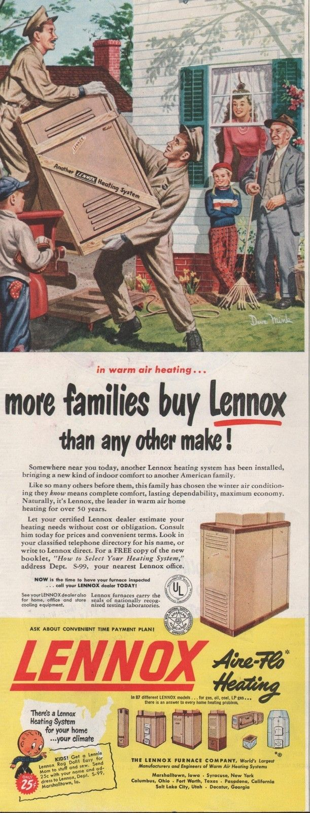 1950 Vintage Lennox Aire Flo Heating More Families Buy Print Ad