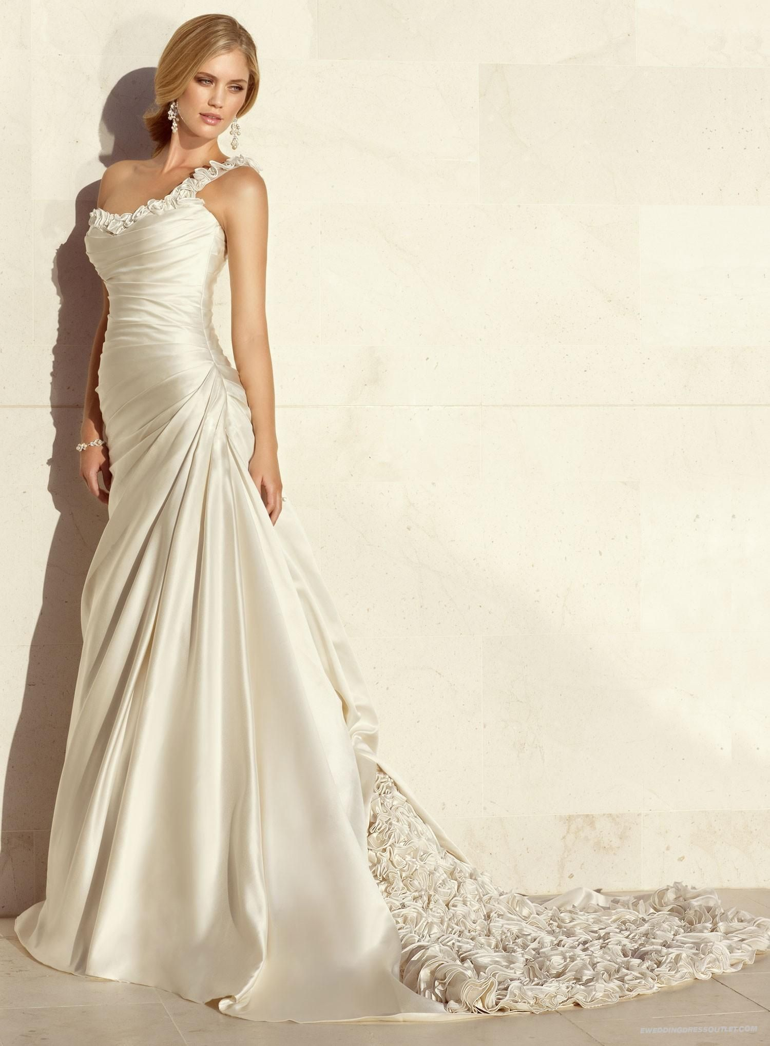 Dolce satin aline one shoulder strap neckline wedding dress