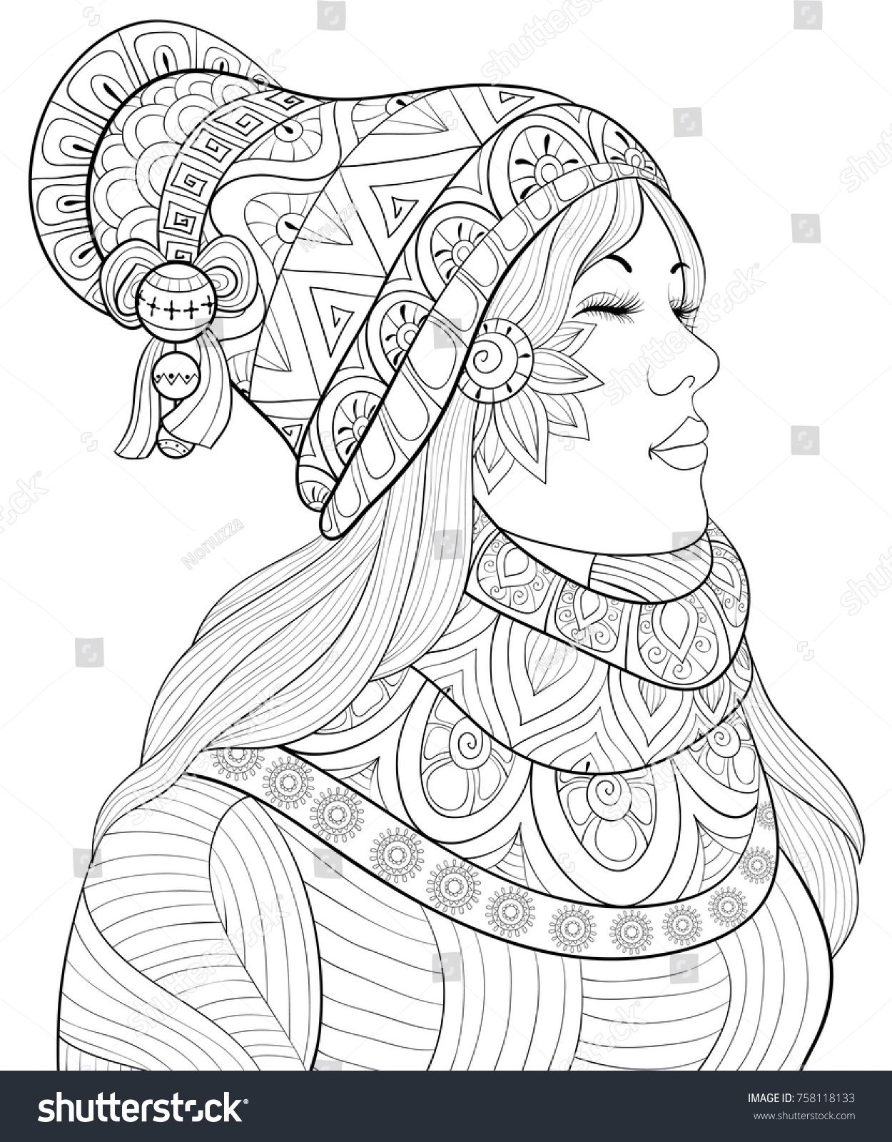 Fille Zen Adult Coloring Page Book A Cute Girl Wearing Scarf And Cap