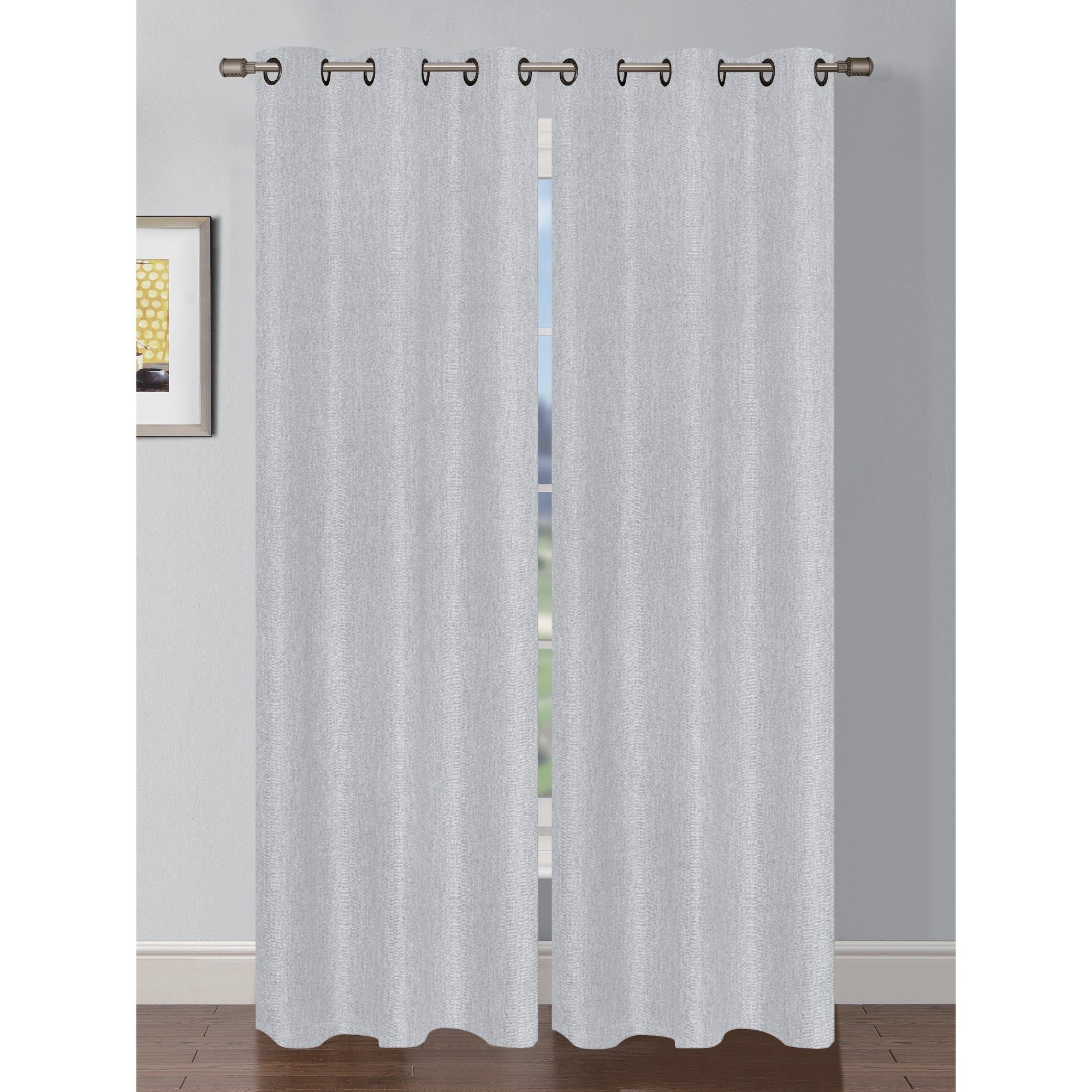 Oscar Luxury Faux Linen Shimmer Grommet Curtain Panel