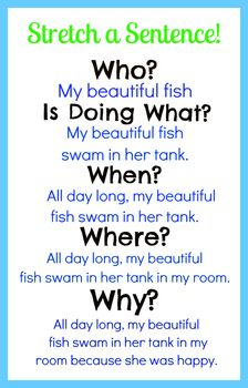Sentence Writing - Expanding, adding who, what, when, where