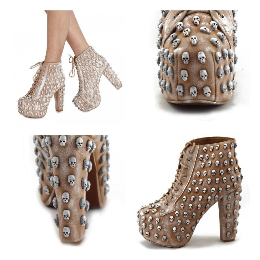 Nude & White Wash Skull Lita #jeffrey #campbell #jeffreycampbell #hot #cute