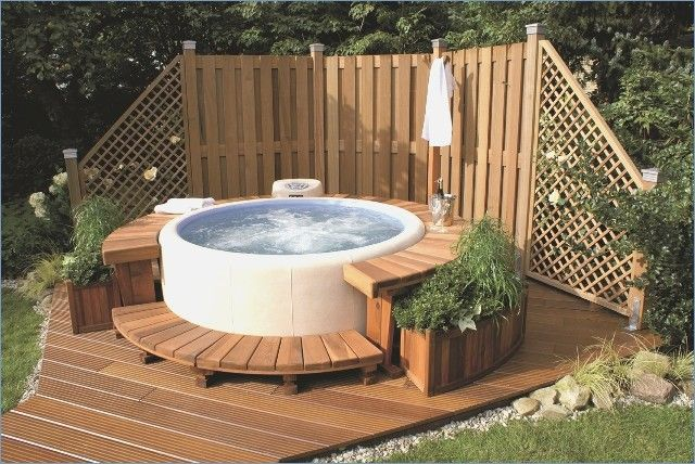 Whirlpool in the garden garden whirlpool Hot tub deck