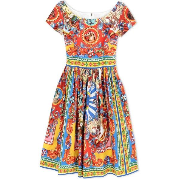 Dolce & Gabbana 3/4 Length Dress (3.778.325 COP) ❤ liked on Polyvore featuring dresses, red, short sleeve pleated dress, mixed print dress, red pattern dress, red pleated dress and colorful dresses