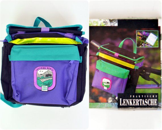 cdd2a6bf63 rad 80s 90s neon bike HANDLEBAR BAG   nos deadstock   purple turquoise    with map case   country touring or city ride  bicycle bag  80s  90s   accessories ...