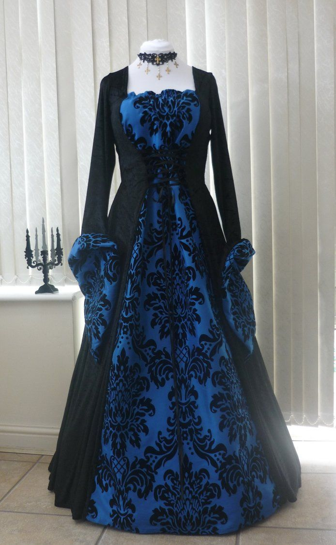 medieval gothic black and bold blue dress dawns medieval