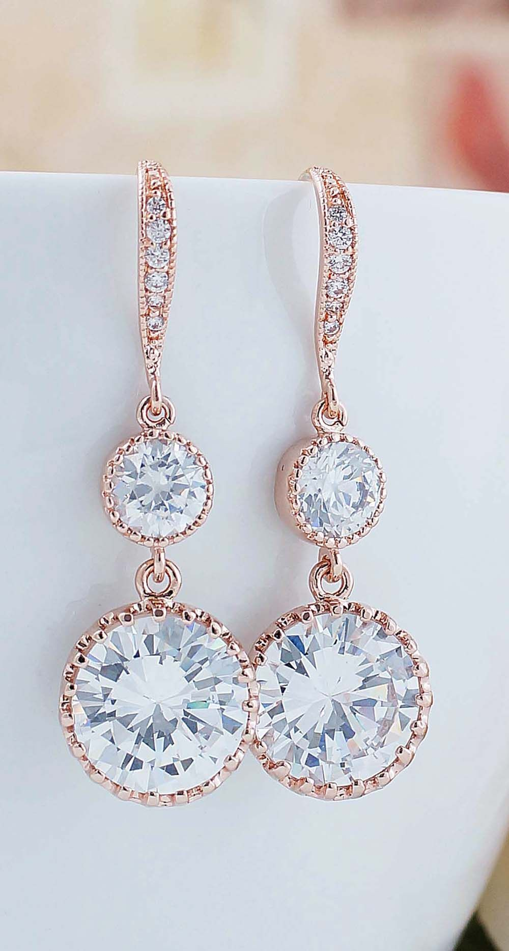 Round cz drop with cz connector dangle earrings gold weddings