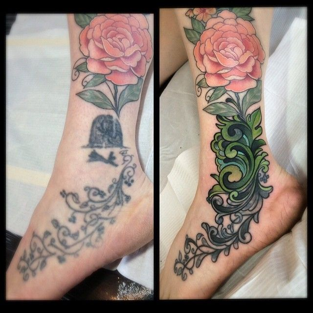 c99a189fe Peony & Forget-me-not Ankle Tattoo (cover up) | art | BODY | Peonies  tattoo, Flower tattoo designs, Cover tattoo