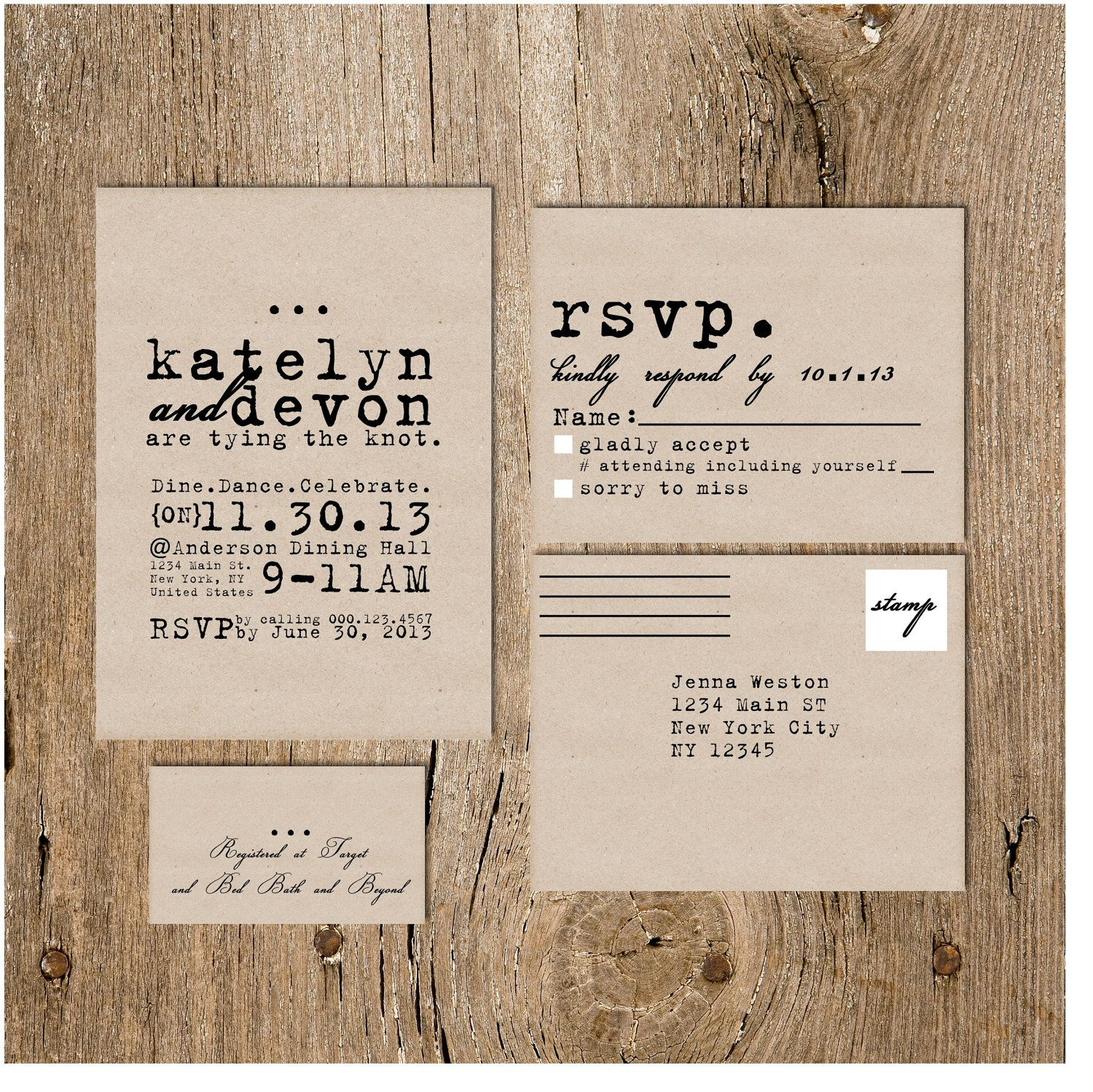 wedding invitation packages cursive typewriter wedding invitation package on kraft 9720