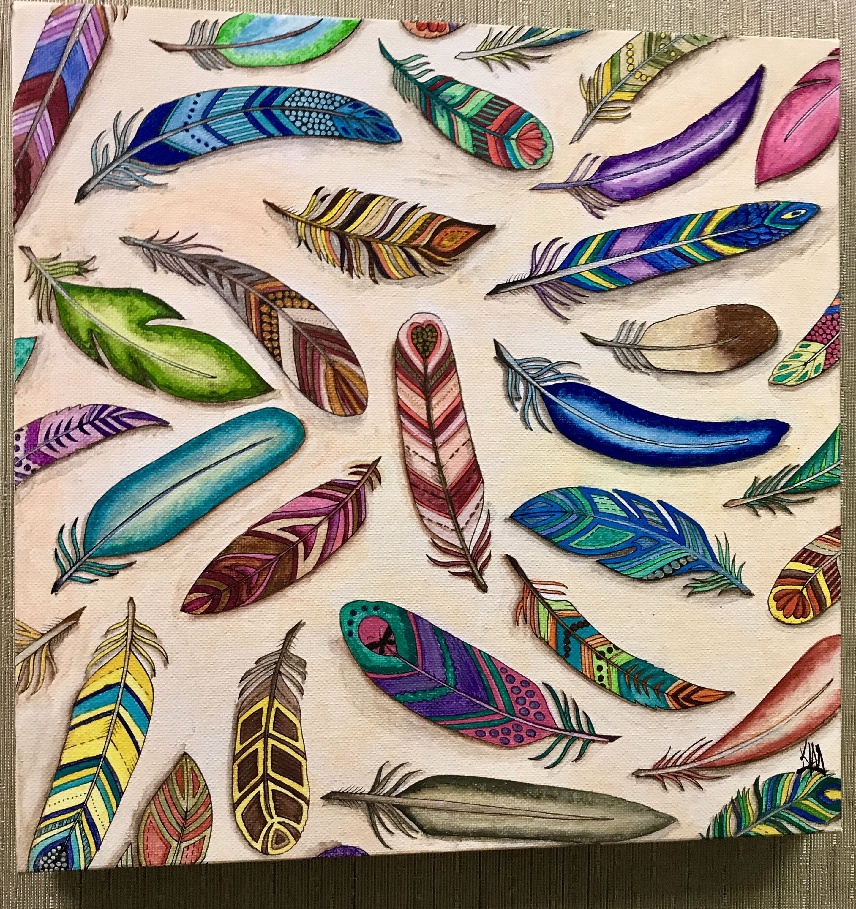 Feathers From Enchanted Forest By Johanna Basford Painted Kim Middleton