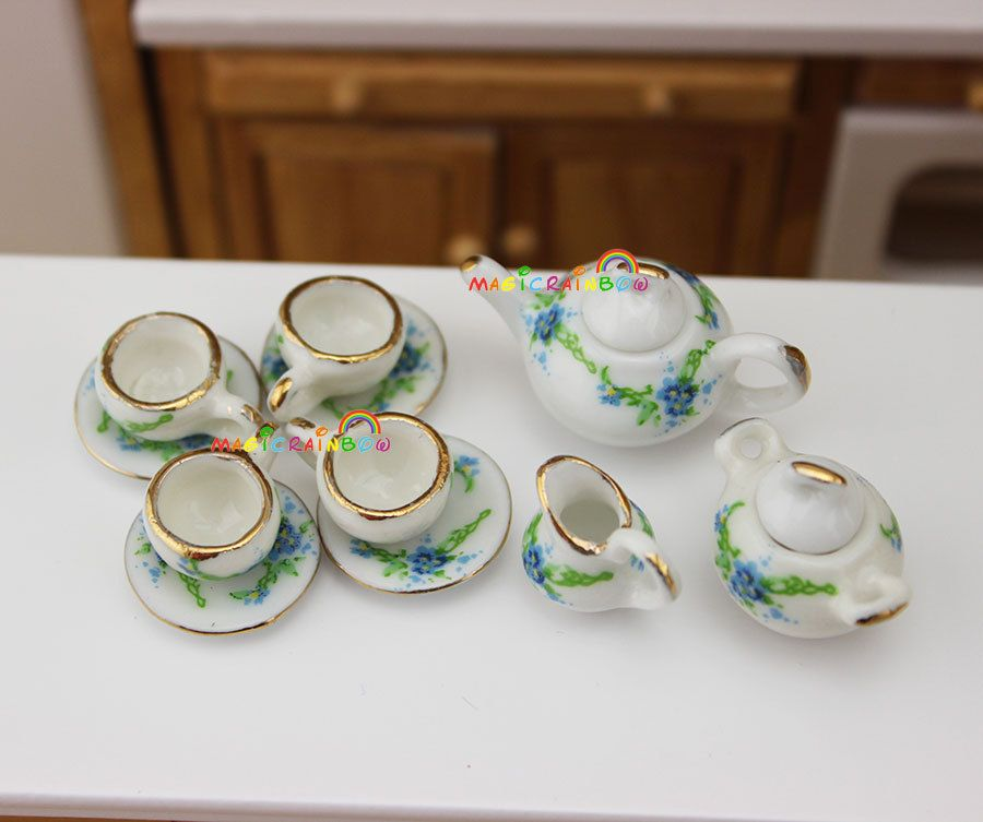 1//12 Chinese Porcelain Coffee Tea Set Dolls House Miniature Cookware Decor