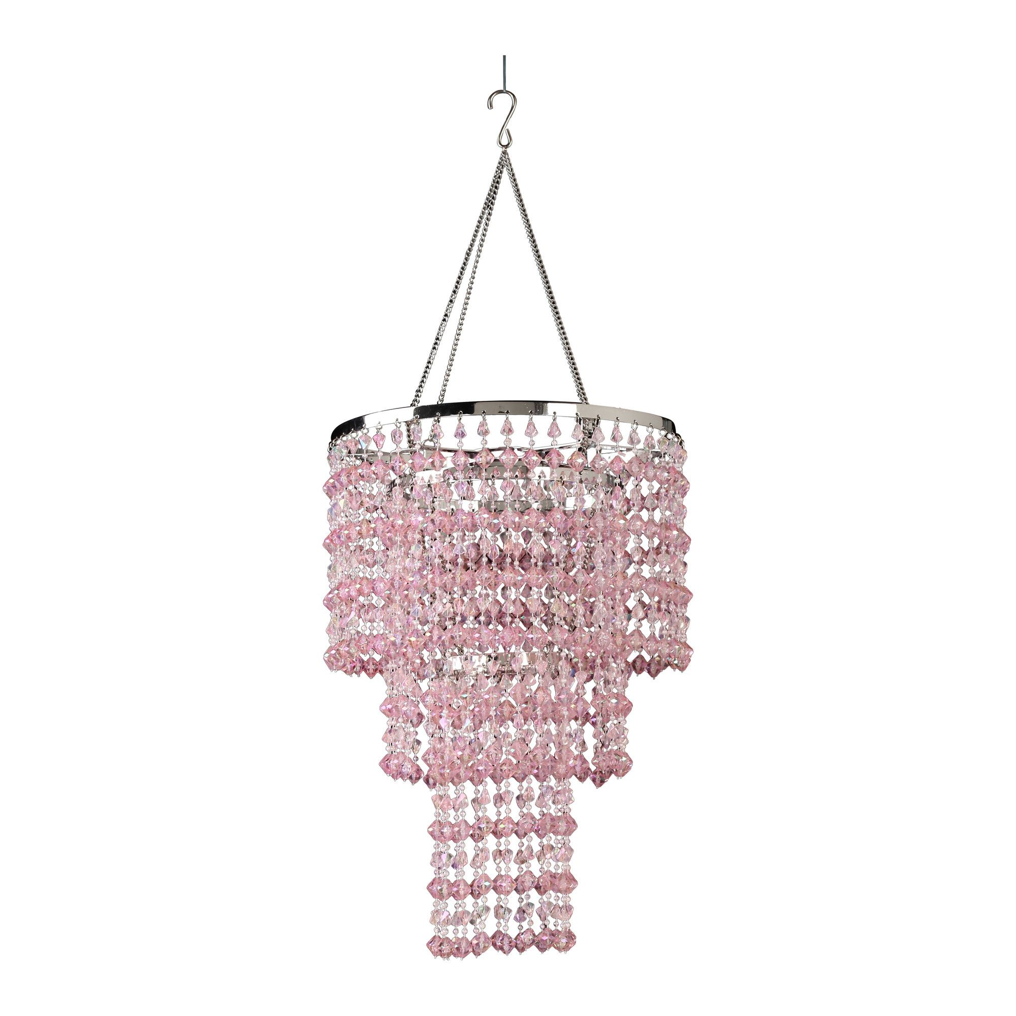 Pink & Clear Beaded Chandelier with White Shade.