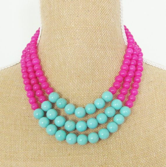 Color Block Necklace Turquoise Blue Magnesite by silverliningdecor, $68.00