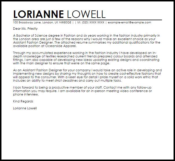 Fashion Design Resume Assistant Fashion Designer Cover Letter Sample Livecareer For