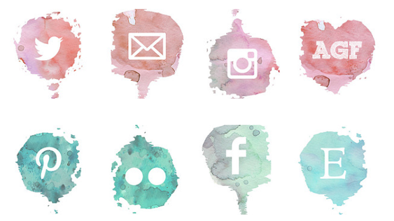 This free set of social media icons features a watercolour