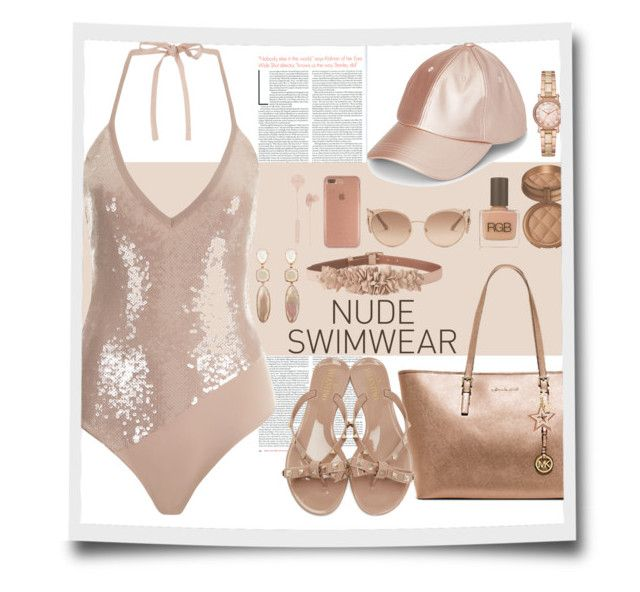 """""""Nude Swimwear"""" by marionmeyer ❤ liked on Polyvore featuring Michael Kors, RGB Cosmetics, Laura Geller, Roberto Cavalli, Speck, L.K.Bennett, See by Chloé, i.am+, Valentino and nudeswimwear"""