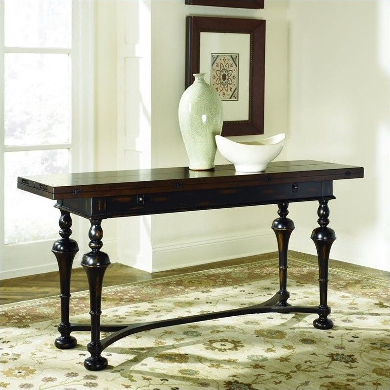 Hammary Hidden Treasures Console Table in Distressed Black Brown