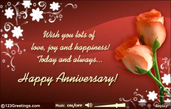 Anniversary Card For A Happy Couple With Lots Of Good Wishes Free Online Wishing Joy And Happiness Ecards On