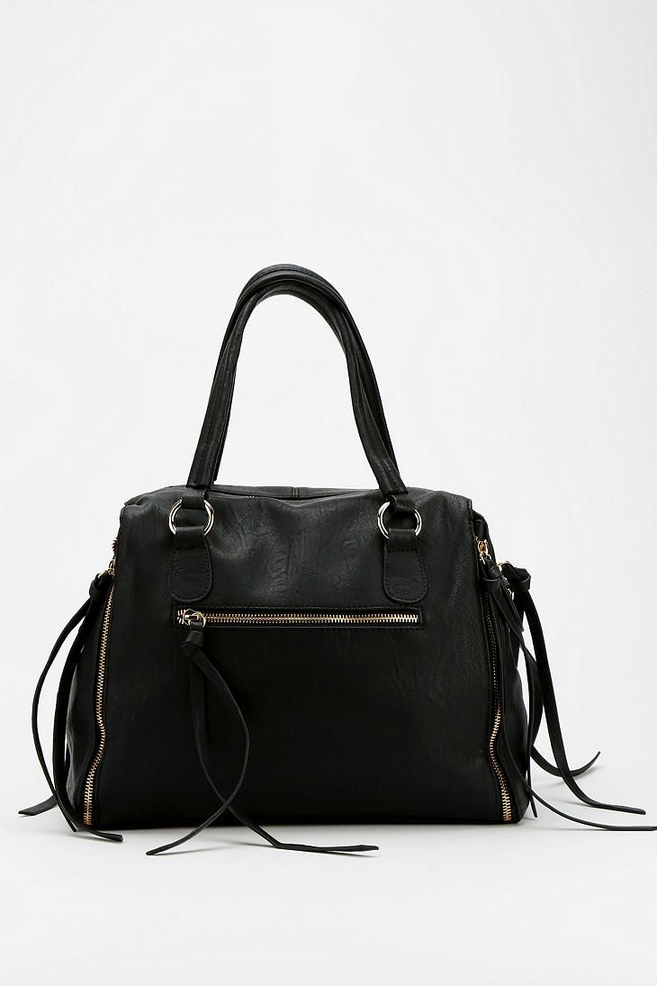 Deena & Ozzy Exposed Side-Zip Vegan Leather Satchel Bag | Style ...