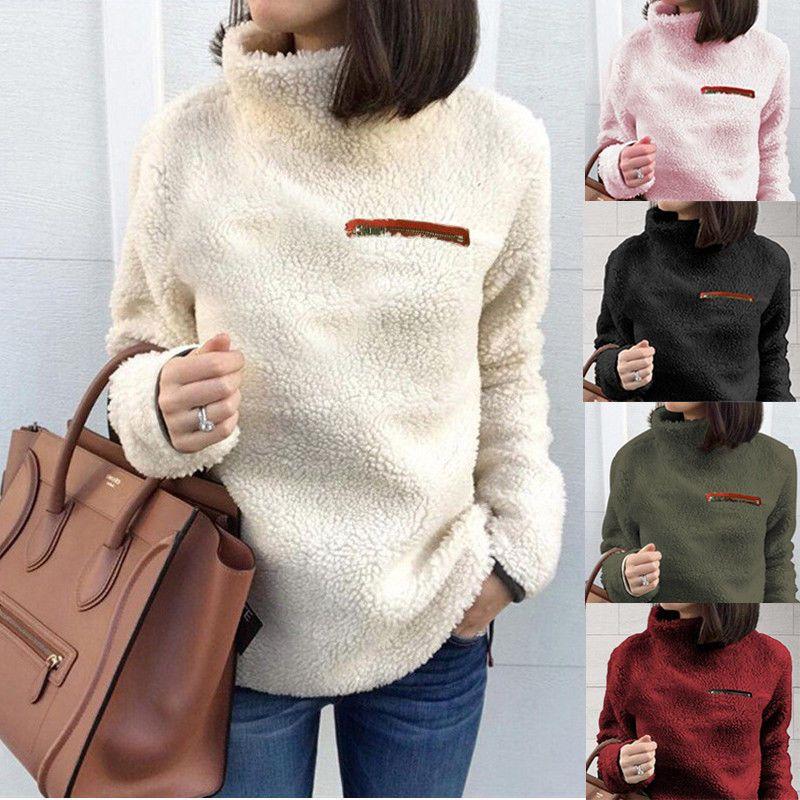 49de05c750 Ladies Fleece Fur Jacket Outerwear Tops Winter Warm Hoodie Fluffy Coat  Women s