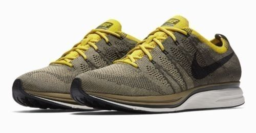 fd6ebe075d4b2 Nike Flyknit Trainer Mens Running Shoes Cargo Khaki Black Sail Bright Citron   Nike  RunningShoes