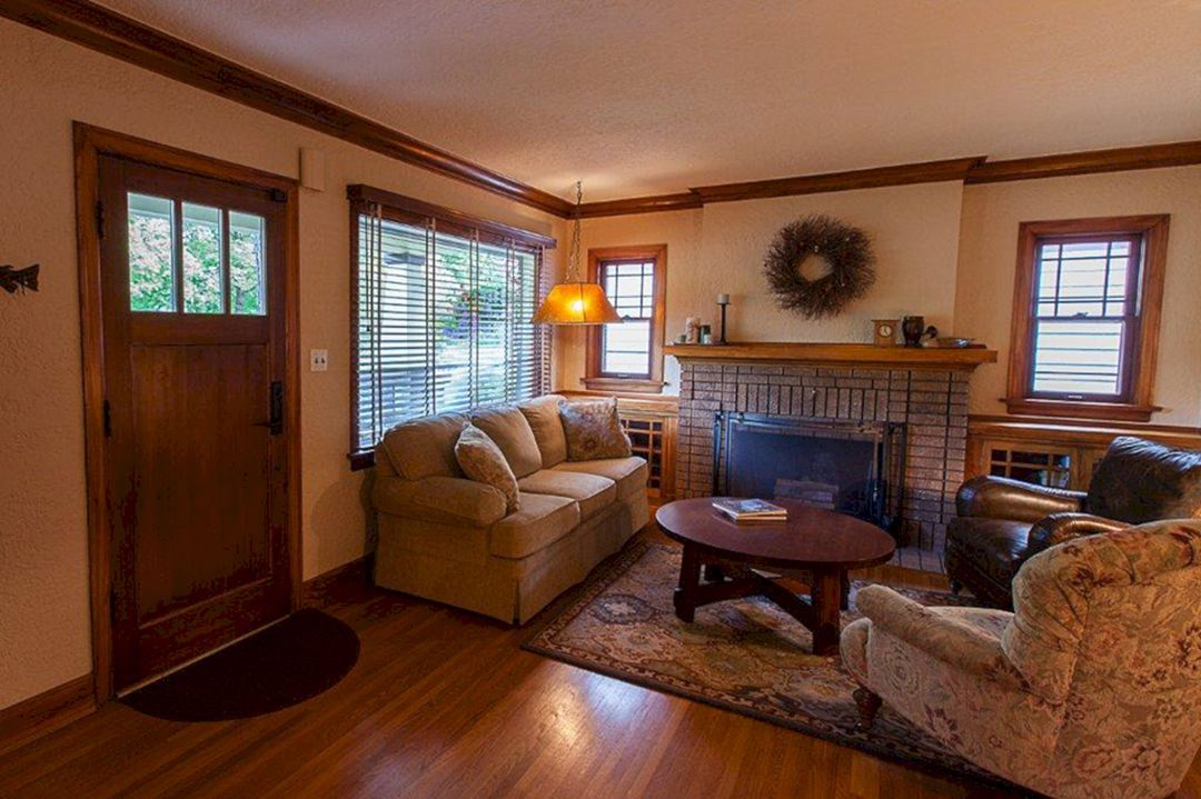 30 Best And Gorgeous Craftsman Style Decorating Ideas Freshouz Com Bungalow Interiors Bungalow Living Rooms Craftsman Living Rooms