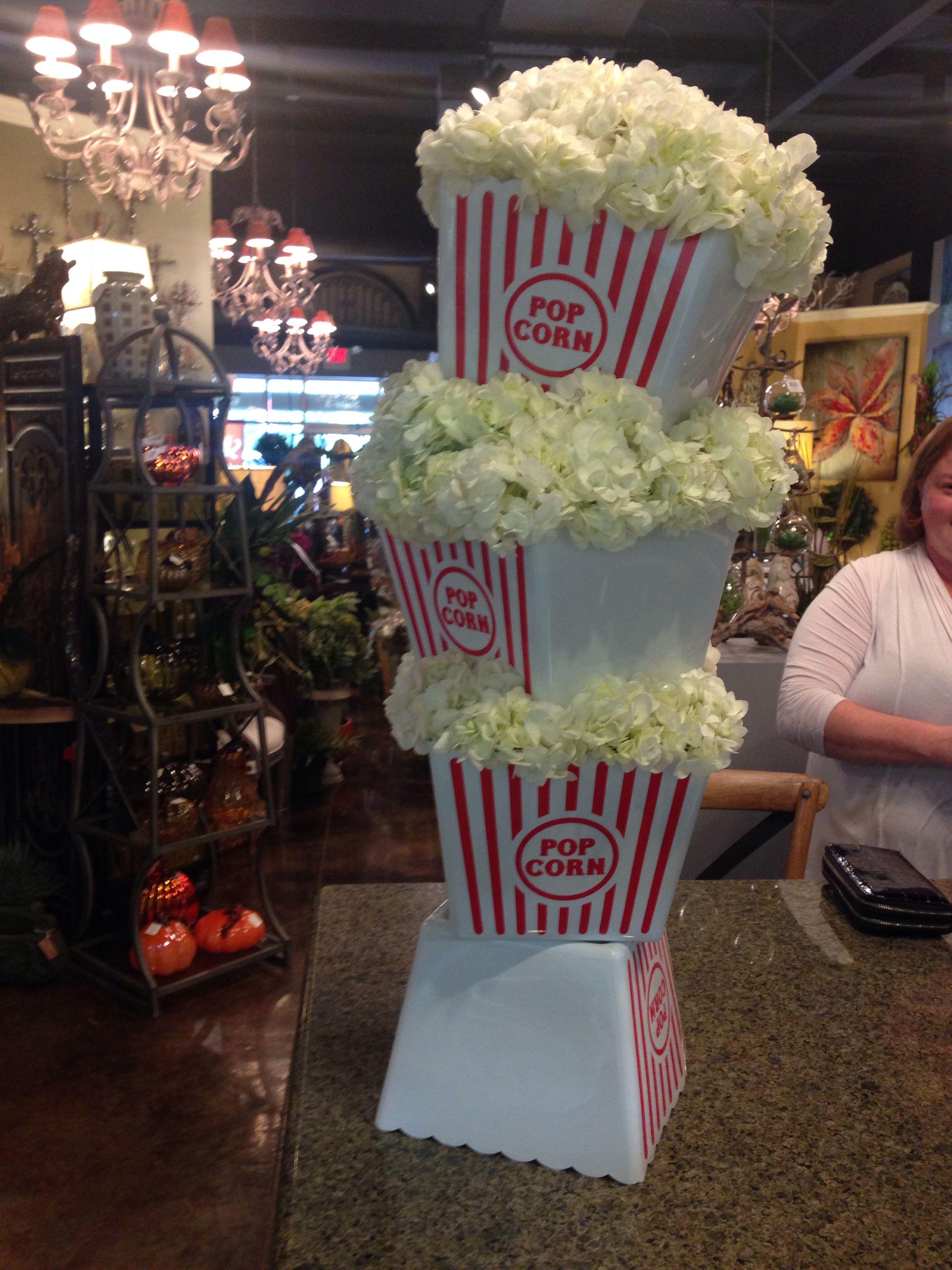 Popcorn Buckets Filled With Hydrangeas To Look Like