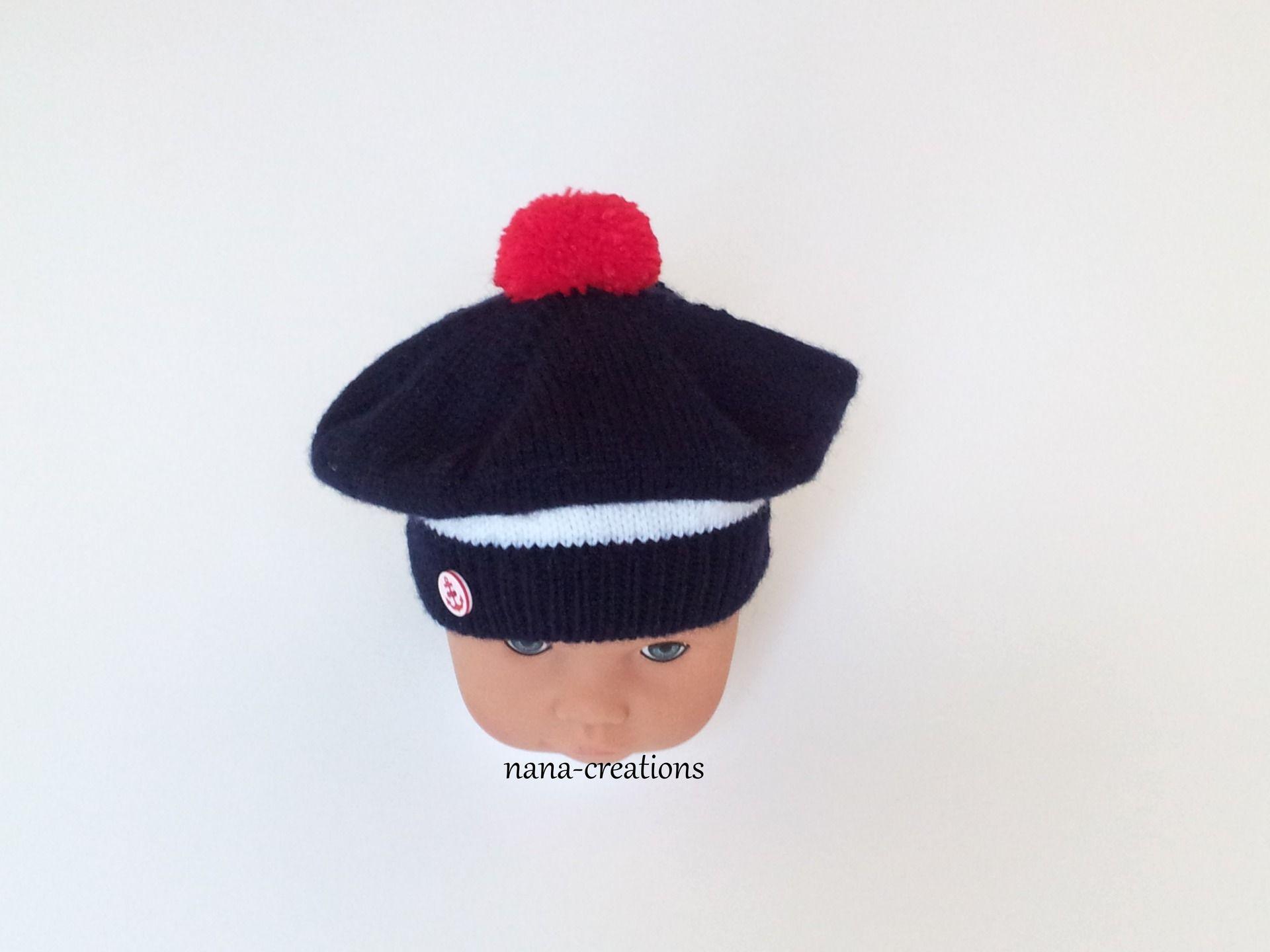 Bonnet bébé béret chapeau bob style marin tricoté en laine layette bleu, blanc…