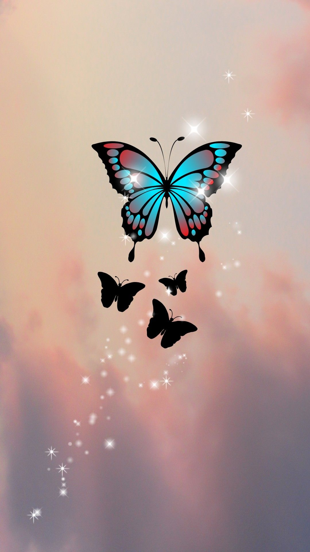 Sparkly Butterflies In The Sky In 2020 Sky Design Cute Backgrounds Cute Butterfly