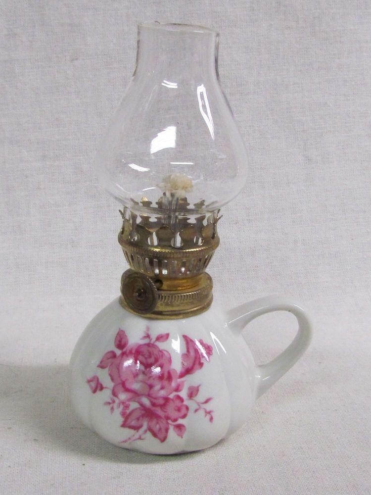 Vintage Miniature 6 Inch Porcelain Pink Flower Milk Gl Hurricane Oil Lamp