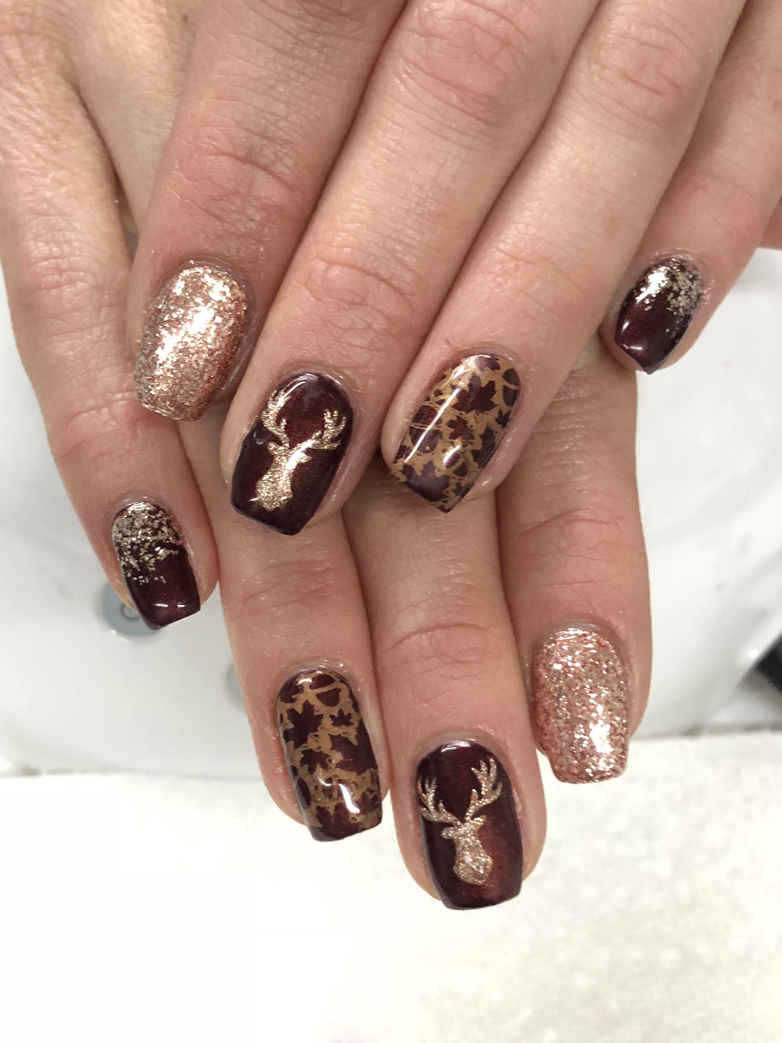 Rose Gold Burgundy Mahogany Deer Head Ombre Glitter Fall Gel Nails Fall Gel Nails Toe Nail Designs For Fall Deer Nails
