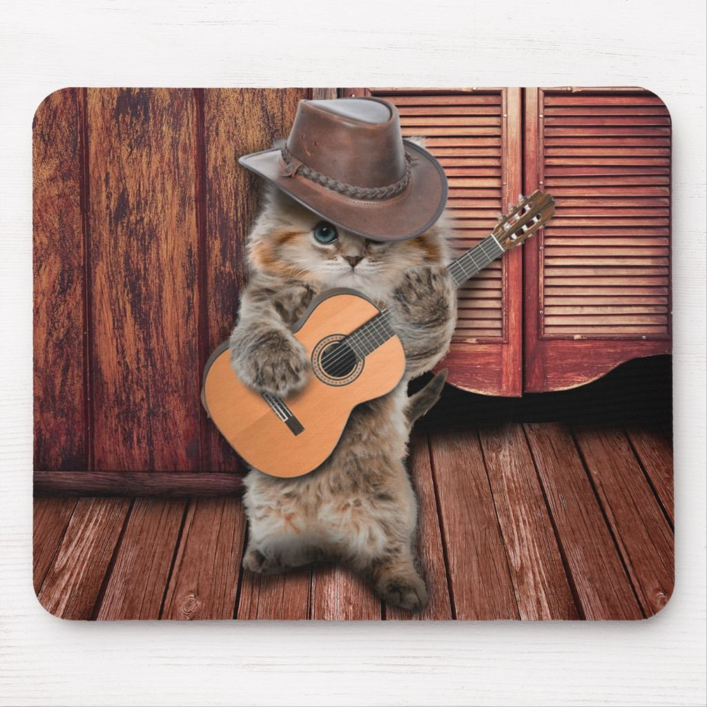 Country Cat - guitarist Cat - funny cat Mouse Pad | Zazzle.com