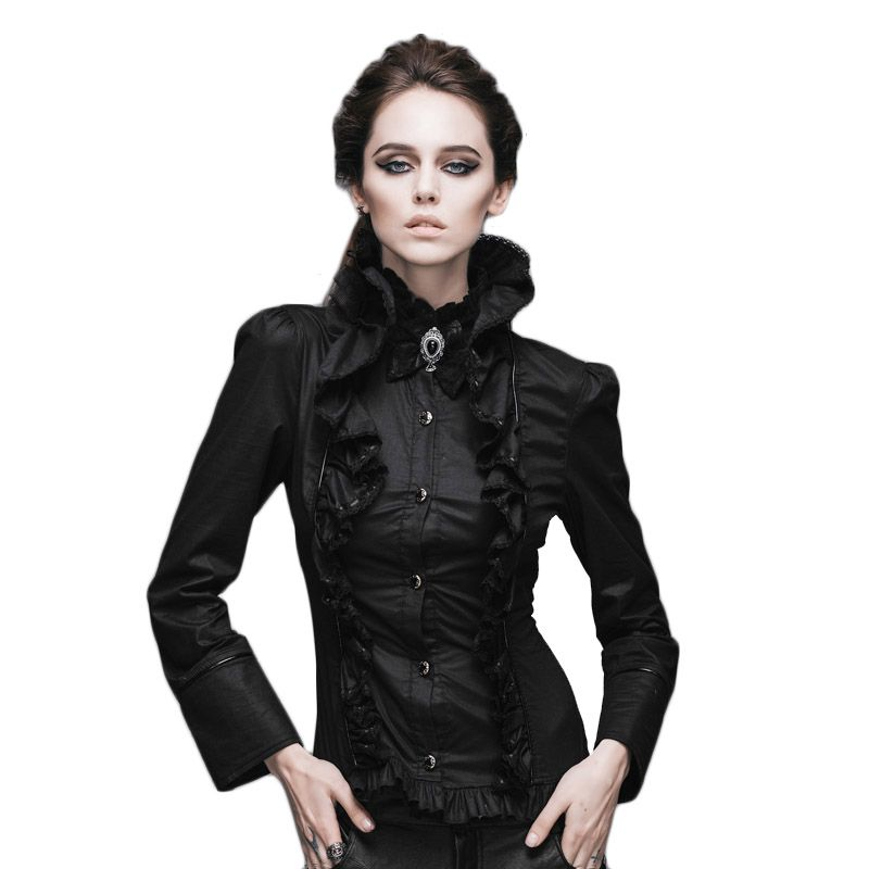 Steampunk Shirts Women Victorian Gothic Long Sleeve Blouse 2017 Casual  Shirt Tops With Stand Collar Slim