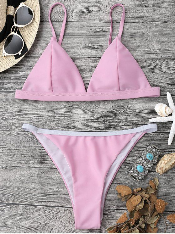 Soft Pad String Bikini Top and Bottoms - PINK M
