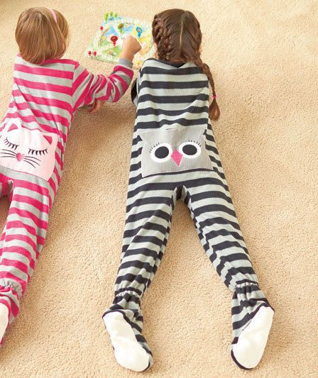 Details about Girls GRAY OWL Bottom Footed Pajamas Zipup Onesie ...