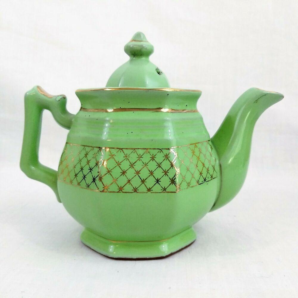 Vintage Porcelain Ceramic Glazed Teapot With Lid Mint Green With Gold Trim Tea Pots Vintage Tea Pots Vintage Porcelain