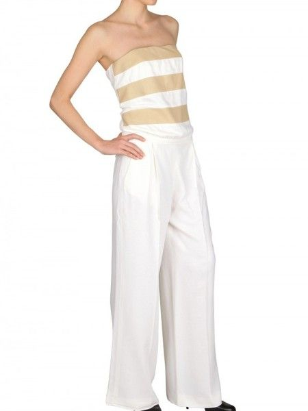 88aac3beaad Women s White Silk Crepe   Nappa Leather Jumpsuit