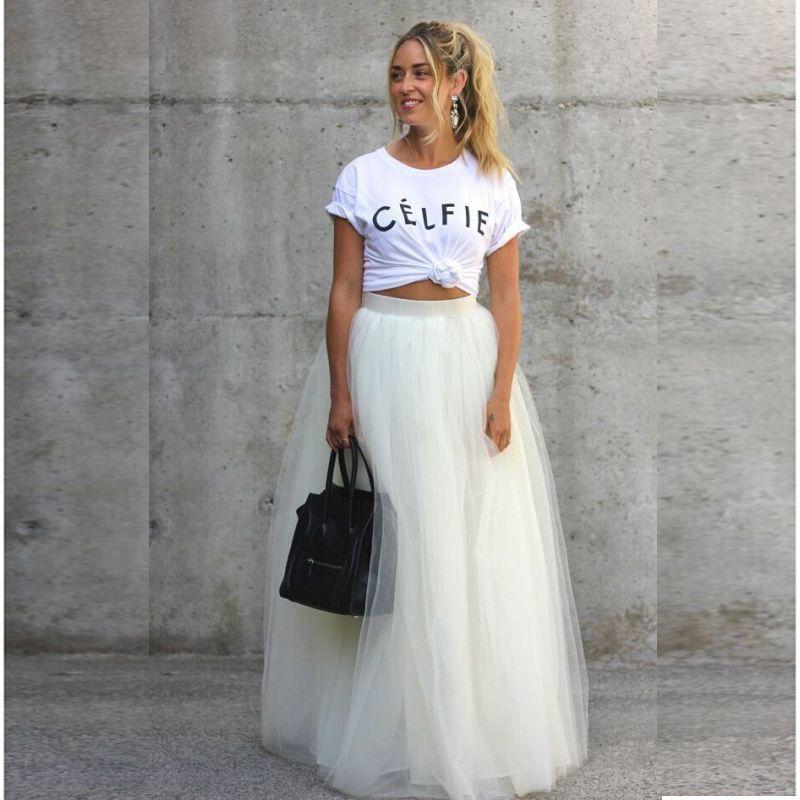 926e817f8dbafa Longues Tulle jupe Multi couleur d'été Style robe de bal Saia Maxi ...