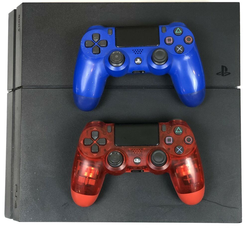 Sony Playstation 4 2 Controllers 500gb Jet Black Console Ps4