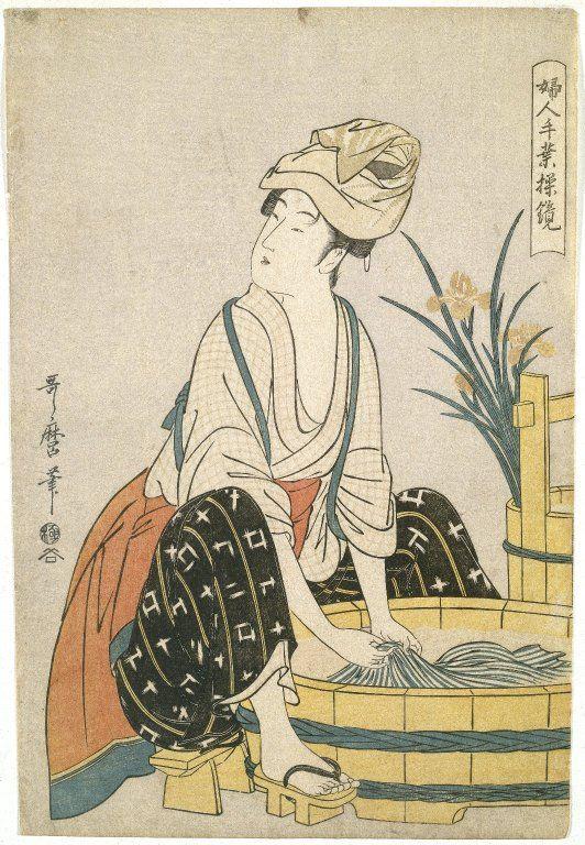 1795 Washing Clothes. Women's Handicrafts: Models of Dexterity. Utamaro…