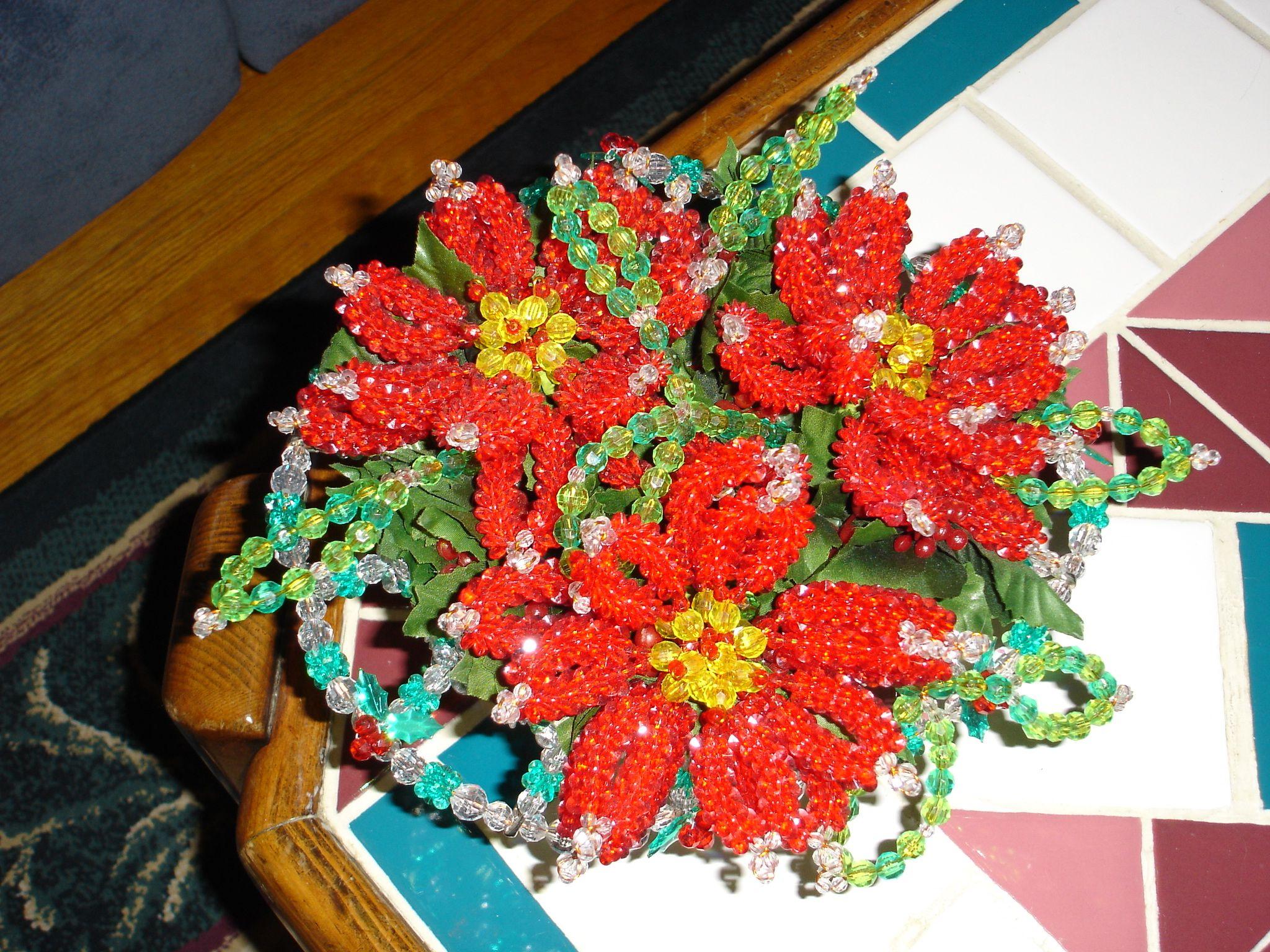 Beaded poinsettias in a beaded Christmas basket
