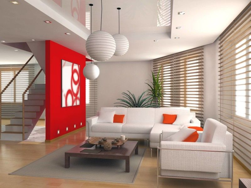 Modern Living Room Interior Design Decorating Ideas | Red feature ...
