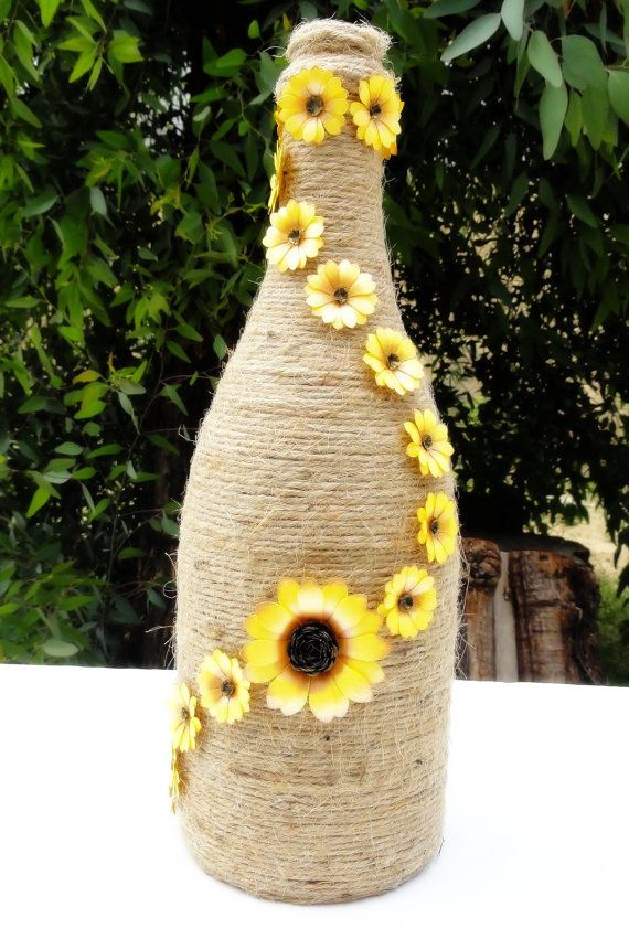paper sunflower decor wrapped wine bottle decorated wine bottle rustic wedding country wedding centerpiece sunflower wedding - Sunflower Decorations