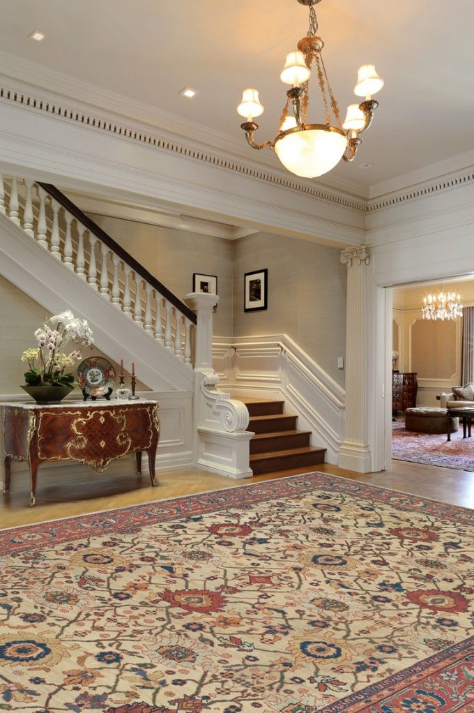 Coveted Ivory Sultanabad Rug Is Breathtaking In This Grand Entry