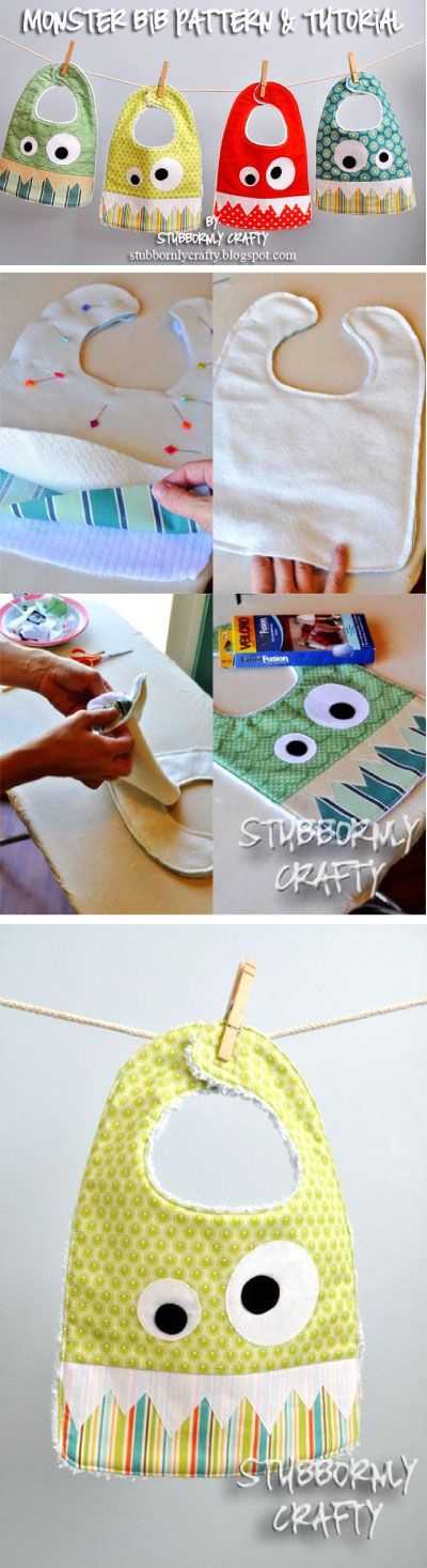Monster Bib Free Pattern and Tutorial - great to make for the baby in your life #sewing #craft #DIY