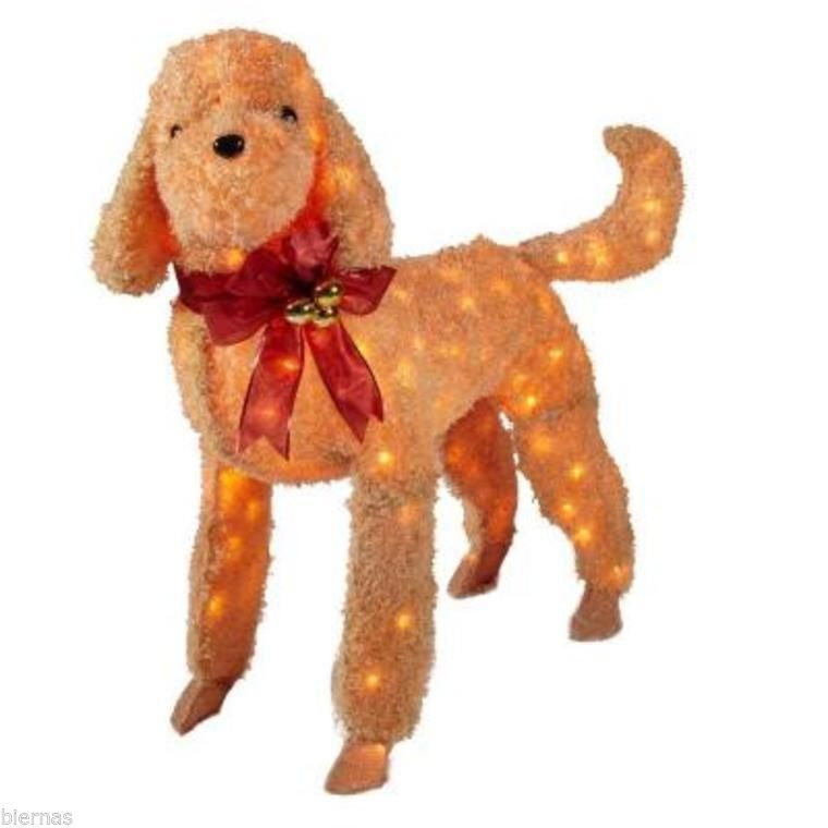 new 42 in. brown tinsel lighted dog soft like fur christmas