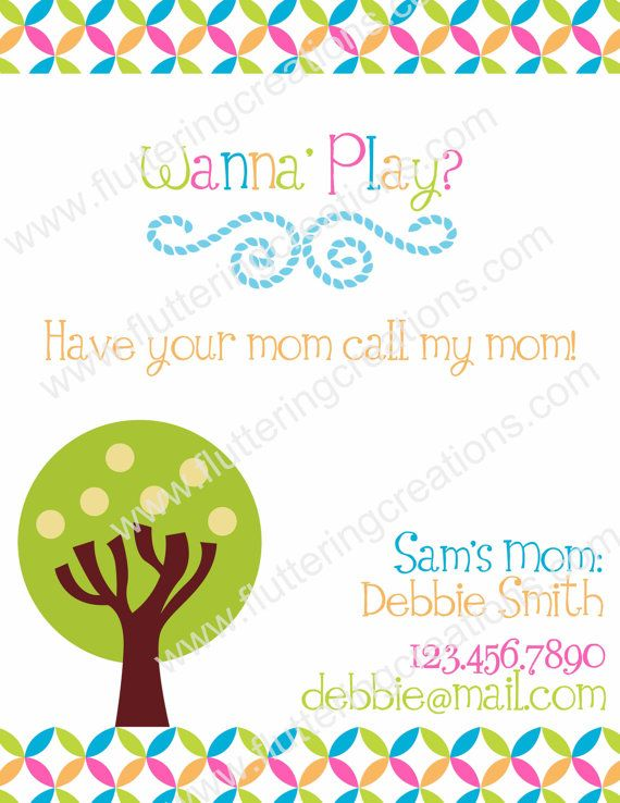 Personalized Play Date Card - PRINTABLE | Connecting Kids and ...