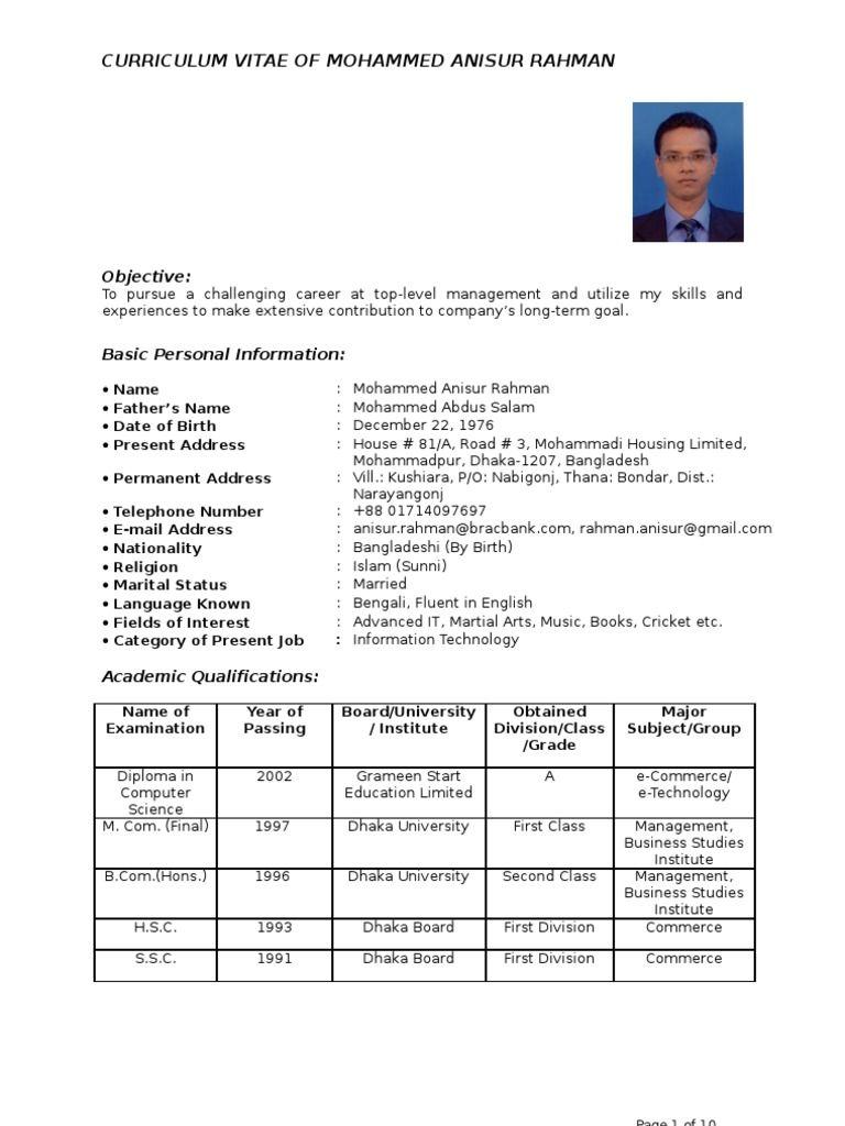 Standard Cv Format Bd Cv format for job, Cv format, Cv